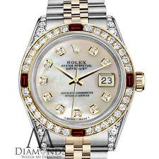 Mujer Rolex Acero Y ORO 31mm Datejust Blanco MOP Esfera con rubí Reloj diamantes