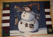Daisy Kingdom Snowman With Hat & Scarf Tapestry Pillow Top Fabric Piece