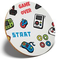 1 x Cool Video Game Icons - Round Coaster Kitchen Student Kids Gift #8288
