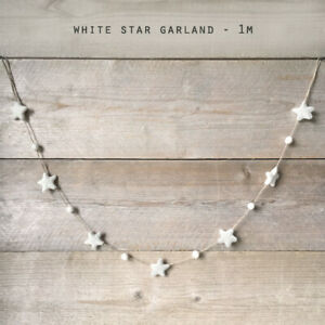 White Christmas Felt Star Garland by East of India