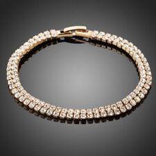 18K Gold GP Made With Blue Swarovski Crystal Elements Filigree Bangles Bracelets