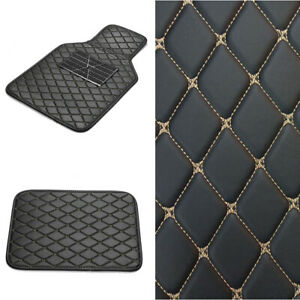 Waterproof Leather Floor Mats Synthetic Fiber Fit for Car Front-Rear Black 4pcs
