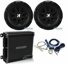 "2) KICKER 43C104 Comp 10"" 600W SVC 4-ohm Car Audio Subwoofers+Amplifier+Amp Kit"