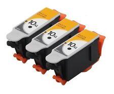 3PK BK Hi-Yield Ink For Kodak 10 XL ESP 3250 5100 5210 5250 5300 5500 7250 9250