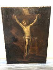 tableau Huile Sur Toile jésus christ Crucifix XVIII EME