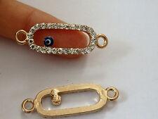 3pcs evil eye charms pendant connector rhinestone gold tone UK wholesale