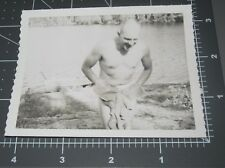 Nude Man SKINNY DIPPING Swimming Naked w/ TOWEL Daddy Vintage GAY Snapshot PHOTO