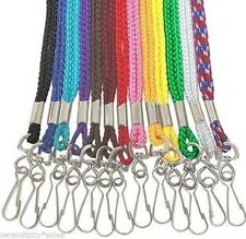 Lot of 25 Neck Lanyards Straps ~ Braided Nylon w/ Swivel and Hook ~ Pick Colors!