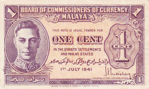 1 CENT VERY FINE CRISPY BANKNOTE FROM BRITISH MALAYA 1941 PICK-6
