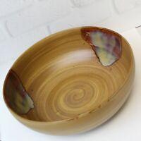 "Sango Splash 4951 Brown Drip Glazed Swirl Stoneware Vegetable Serving Bowl 9"""