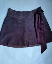 BEBE Purple Maroon Suede Leather A-Line Silk Lined Mini Skirt w/ Side Bow Size 2