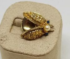 Vintage Estate Rhinestone Jelly Belly Ladybug Bug Insect Brooch Pin Jewelry