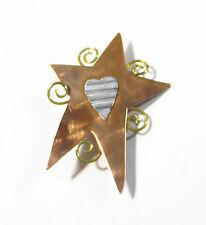 Shooting Star Brooch Pin Vintage Moderniste Copper Silver Gold