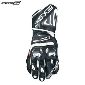 Five RFX1 White Motorbike Racing Sports Gloves CARBON Protection to Forearm/Palm
