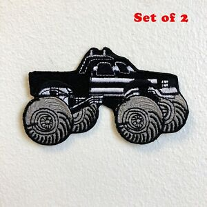 Monster Truck Toy American Black Iron on Sew on Embroidered Patch Set of 2