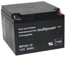 1 x Multipower Blei Akku MP26-12 PB / 12 V / 26 Ah | Powerfit S312/26F5