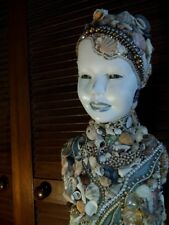 Sea Shell Decorated Glass-Eyed Mannequin Child Torso with Diamante and Pearls