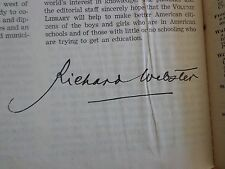The Volume Library 1950 - AUTOGRAPHED BY RICHARD WEBSTER - AWESOME!!!