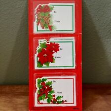 Nib Paper Magic Group Fuzzy Christmas Gift Labels 4 Poinsetta 4 Holly 4 Pinecone