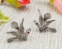 Antique Vintage Silver Marcasite Bird Clip on Earrings