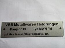 Typenschild Oldtimer Schild Anhänger VEB Heldrungen Moped simson MWH/M s45