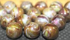 Gold, Brown & Purple Swirls Round Acrylic Beads 14mm (14ea)  B214