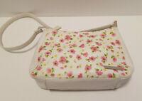 Liz Claiborne white faux leather Carmen handbag, black accents & shoulder strap