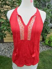 Lucky Women's Sz Large Knit Sweater T-Back Tank w/ Tassel 7WD5150 Red $79.50 NWT