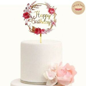 ⭐New Acrylic Gold Flower Rose Cake Topper for Happy Birthday Cake Decoration ⭐