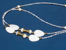 "Beaded Sunglasses/Eyeglass Chain~White Shell~MOP w/Gold Flair~28""BUY 3 SHIP FREE"