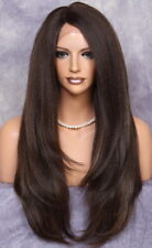 Human Hair Blend Full Lace Front wig Heat OK Long Straight JSLA Brown mix 4-27
