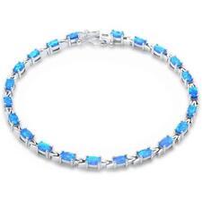 "Oval Blue Opal .925 Sterling Silver Bracelet 7.5"""