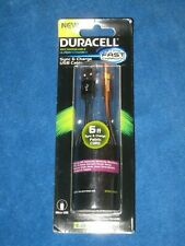 Duracell Pro457 Sync-And-Charge Fabric 6' Micro USB Cable,Black, New!