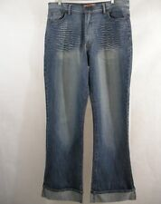 Womens Jeans Distressed Apollo 17/18 Rolled Up Cuff High Waist Flare Broken In