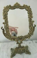 VINTAGE FRENCH FARMHOUSE HOLLYWOOD REGENCY GOLD CAST IRON VANITY MIRROR ROSES