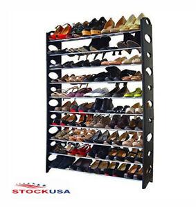 Organizador de Zapatos 50 Pares Zapatera de 10 Repisas de Pared Desmontables
