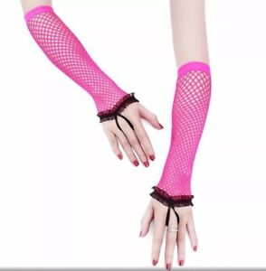 1 Pair PinK Women Ladies Fingerless Gloves Soft Lace Mittens Mesh Gloves Party