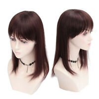 Bob Straight 100% Remy Human Hair Topper Toupee Hairpiece Top Piece with Bangs
