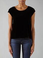 9d8377f04fc536 JOIE Levluv Velvet Short Sleeve Top Black Caviar Size Medium