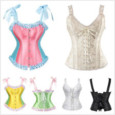 Women Sexy Boned Strap Lace up Push Up Shapewear Top Overbust Corset Bustier Top