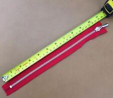 """YKK Metal Closed End Zip Fastener Heavy Duty Chunky Nickel 10"""" (25 cm) Red"""