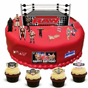 WWE Wrestling Happy Birthday Stand Up Scene Edible Wafer Paper Cake Topper