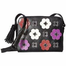 Rebecca Minkoff Black Pink Leather Floral Applique Camera Crossbody Bag NWT