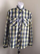 WESC Designed in sweden Check yellow blue white Long Sleeve Shirt size Large