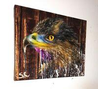 Peinture tableau a l`huile sur toile format 24/30 cm série animalière (étude)