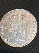 2 1/2 Gulden G Coin Netherlands Dutch 1863 F - VF SCARCE!! Rare Lowest Mintage