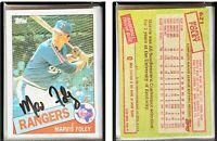 Marvis Foley Signed 1985 Topps #621 Card Texas Rangers Auto Autograph