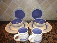 PFALTZGRAFF RIO STONEWARE BLUE CREAM RINGED 8 PC SET DINNER SALAD PLATE BOWL MUG
