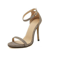 cd6d1e790823 Fashion Women s Strappy Stiletto High Heel Sandals Ankle Strap Cuff Peep  Shoes