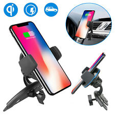 Qi Wireless Charger Car CD Slot Mount Holder For Samsung Galaxy S9/S8 iPhone X 8